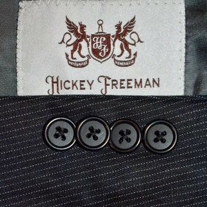 42R Hickey Freeman Charcoal Gray Pinstripe SUIT